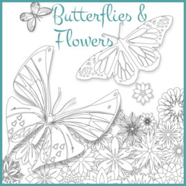 Butterflies and Flowers Colouring Sheet