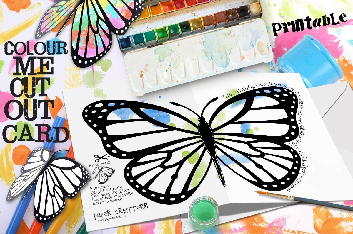 The coloring book of cards and envelopes flowers and butterflies - Butterfly Art Projects