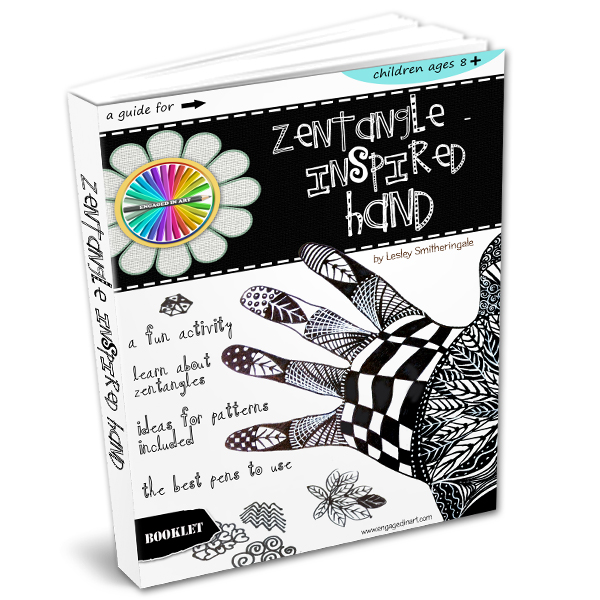 draw a zentangle-inspired hand for kids