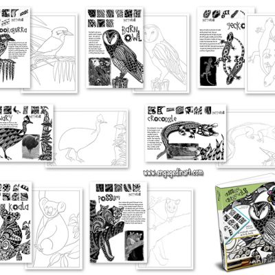 selection of pages, tangle me aussie animals, zentangle-inspired animals, zentangle animals, zentangle books for kids, zentangle lesson plans for teachers, zentangle printables, zentangle printables for teachers, zentangle printables for kids, engaged in art, online art classes, online art classes for kids
