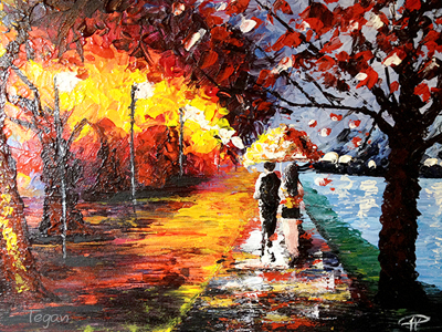 Evening stroll by the Seine painting by Lucy, art classes for kids, art classes for kids in redlands, art classes for kids brisbane, engaged in art, engaged in art classes for kids