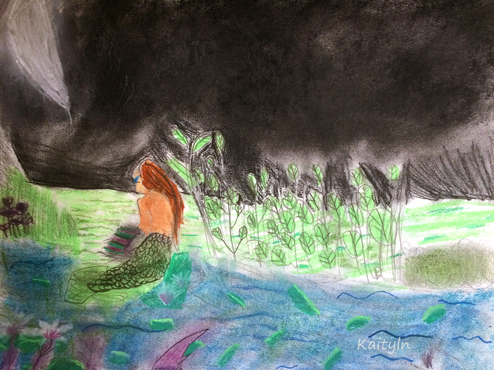 Mermaid in the Lily Pads by Kaitlyn, fantasy art workshop for kids, art classes for kids, art classes for kids in redlands, art classes for kids brisbane, engaged in art, engaged in art classes for kids