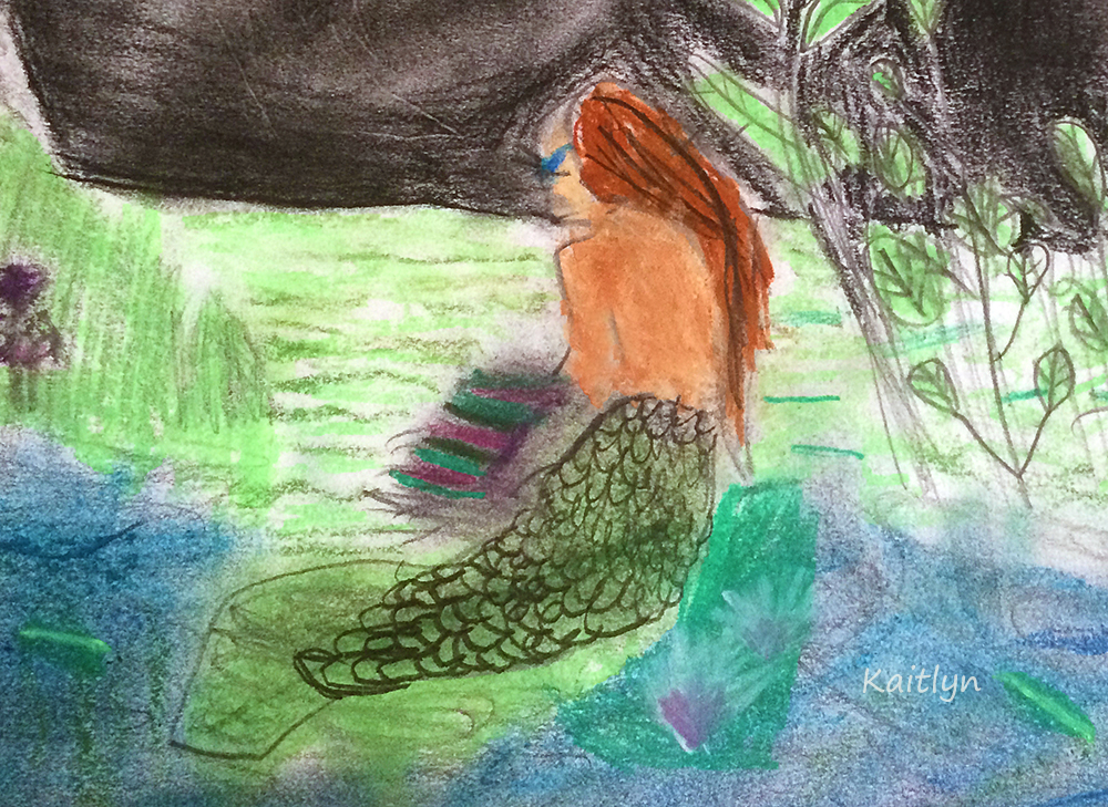 Mermaid in the lily pads detail, fantasy art workshop for kids, art classes for kids, art classes for kids in redlands, art classes for kids brisbane, engaged in art, engaged in art classes for kids