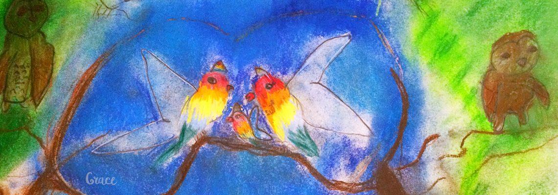 unicorn birds by grace, art classes for children alex hills, art classes for children capalaba, art classes for kids redlands